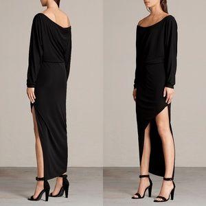 Allsaints Evon Off Shoulder Black Midi Slit Dress